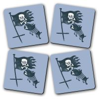 Love For Bones Printed Wooden Kitchen Coaster Set Of 4