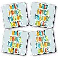 Only Fools Follow Rules Printed Wooden Kitchen Coaster Set Of 4
