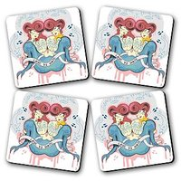 Love Vs Hate Printed Wooden Kitchen Coaster Set Of 4