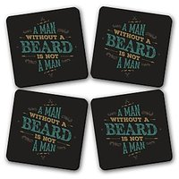 Man Without A Beared Is Not A Man Printed Wooden Kitchen Coaster Set Of 4