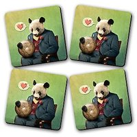 Panda Around The World Printed Wooden Kitchen Coaster Set Of 4