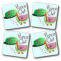 Piece Out Printed Wooden Kitchen Coaster Set Of 4