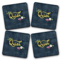 Quiet Printed Wooden Kitchen Coaster Set Of 4