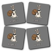 Robbit Printed Wooden Kitchen Coaster Set Of 4