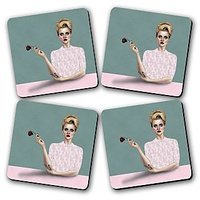 Rose Printed Wooden Kitchen Coaster Set Of 4