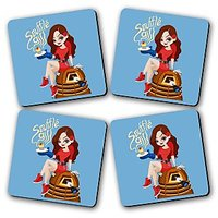 Souffle Girl Printed Wooden Kitchen Coaster Set Of 4