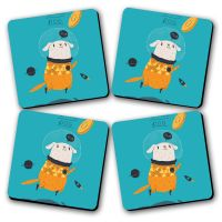 Space Dog Printed Wooden Kitchen Coaster Set Of 4