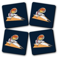 Space Ride Printed Wooden Kitchen Coaster Set Of 4