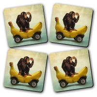 Sparky's Printed Wooden Kitchen Coaster Set Of 4