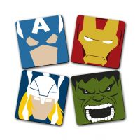Super Hero Printed Wooden Kitchen Coaster Set Of 4