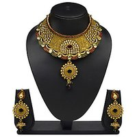 VK Jewels Gorgeous Gold Plated Choker Necklace With Earrings- NKS1165G
