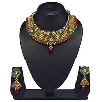 VK Jewels Magnificent Gold Plated Choker Necklace With Earrings- NKS1167G
