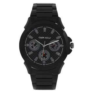 TIGERHILLS 3D GLASS CRONOGRAPH STYLE BLACKISH STAINESS STEEL WATCH FOR MENS