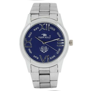 TIGERHILLS 3D GLASS BLUEISH STAINESS STEEL WATCH FOR MEN