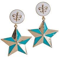Maayra Plush Blue Gold Designer Drop Earrings