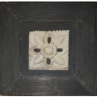 Wooden Artwork With Flower And Leaf Made Up Of Stone