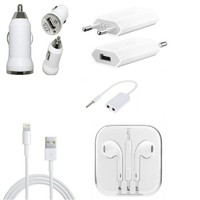 BrandPark Wall Charger,Car Charger ,Earpods,Audio Splitter & Usb Lightning Data Cable For Iphone 5 /5G (Combo) Indian Pin