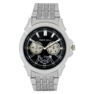 TIGERHILLS 3D GLASS CRONOGRAPH STYLE  STAINESS STEEL WATCH FOR MENS