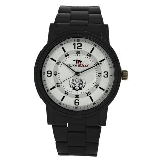 TIGERHILLS 3D GLASS BLACKISH STAINESS STEEL WATCH - 75284102