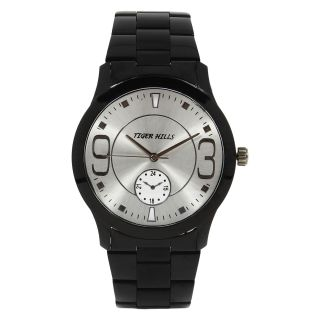 TIGERHILLS 3D GLASS BLACKISH STAINESS STEEL WATCH