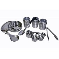 Set Of 8 Kitchen Utility Set Medium- Single Spoon Rest, See Through Poori Dabba, See Through Tea, Coffee, Sugar Canisters, Cooking Spoon With Plastic Handle, Utility Tong, Set Of 4 Measuring Cups