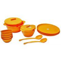 ASP Polyplast Microware Safe Round 18 Pcs Dinner Set ORANGE