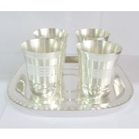 Silver Finish Gift Article,4 Glasses With Tray.