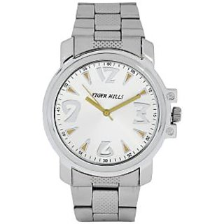 TIGERHILLS 3D GLASS STAINLESS STEEL SILVER WATCH FOR MEN