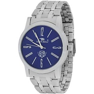 TIGERHILLS 3D GLASS STAINLESS STEEL BLUEISH WATCH FOR MEN