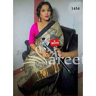 VandV Bollywood Actress Vidya Balan Bhagalpuri Gray Saree