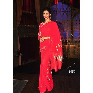 VandV Deepika Padukone In Gorgeous Red Hot Saree