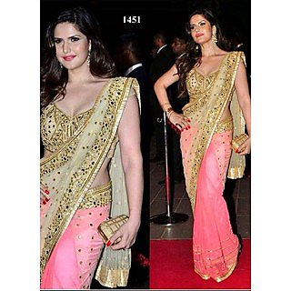 VandV Zarine Khan In Pink And Cream Mirror Work Half And Half Saree