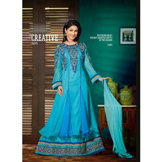 3ece511df6d VandV Sky Coloured Floor Length Anarkali Suits Best Deals With Price ...