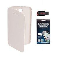 BrandPark Flip Cover + Screen Protector + 4Gb Pen Drive For Micromax Canvas A110 - White