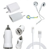 BrandPark Wall Charger,Car Charger,Earpods & USB Lightning Data Cable For IPhone 5 /5S/6 (Combo) Indian Pin
