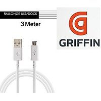 Griffin Micro USB Charging Cable Colour White 3 Meter Long By Griffin