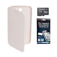 Brandpark  Flip Cover + Screen Protector + 4Gb Sandisk Memory Card For Micromax Canvas A110 - White BPJS_61291631522518_FC81