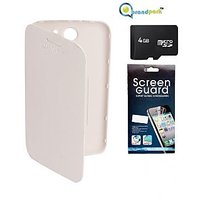 Brandpark  Flip Cover + Screen Protector + 4Gb Sandisk Memory Card For Micromax Canvas A110 - White BPJS_61291631522518_FC34