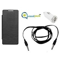 BrandPark Flip Cover + Car Charger+ Aux Cable  For Sony Xperia E