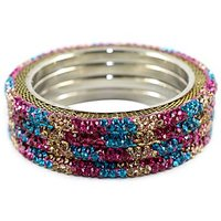 Bright Golden Bangles With Multi-Colored Stones Set In A Golden Finish Metal Base (C10RJ01013L3SRPB2.6)