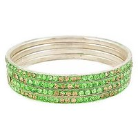 Set Of Four Bangles In Golden And Green (C2RJ0101CGGR2.8)