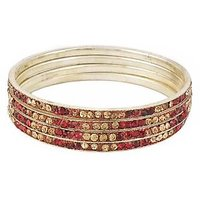 Set Of Four Bangles In Golden And Mehroon (C2RJ0101CGME2.8)