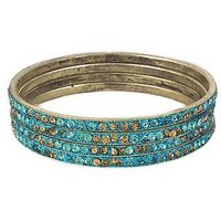 Set Of Four Bangles In Golden And Sky Blue (C2RJ0101CGSB2.8)