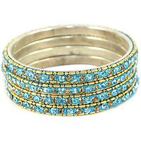 Set Of Shining Golden And Sky Blue Bangles, Perfect For Formal As Well As Informal Occasions (C3RJ0101NCGSB2.4)