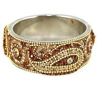 Brown Broad Kada With The Traditional Ambi Pattern Finished With Stones & Beads (K3RJ0101KSBR2.8)
