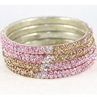 Set Of 4 Stylish And Pristine Kada Bangles In Silver Metal Finish With Pink, White And Golden Stones (C12RJ01013L2SP2.4)