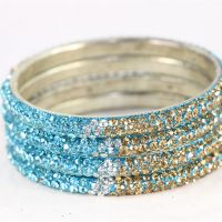Set Of 4 Stylish And Pristine Kada Bangles In Silver Metal Finish With Sky Blue, White And Golden Stones (C12RJ01013L2SSB2.4)