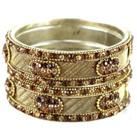A Set Of Shimmering And Shining Silver-Brown Bangles And Kada (C13RJ0101KSBR2.8)