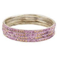Set Of Four Bangles In Golden And Lavender (C2RJ0101CGLA2.8)