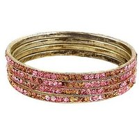 Set Of Four Bangles In Golden And Pink (C2RJ0101CGP2.8)